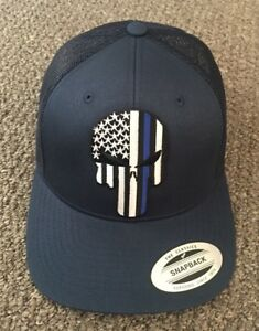PUNISHER Thin Blue Line Hat USA Flag Police SnapBack Cap Handcrafted ... 993ba93985a