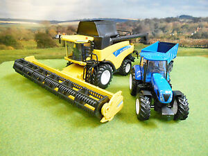 Newray-Farm-1-32-New-Holland-CR9090-combinan-T7-270-conjunto-de-cosecha-de-remolque-de-tractor-amp