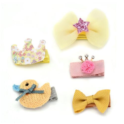 5Pcs Kids Baby Girl Hair Clips Set Cute Bowknot Heart Crown Headwear Hairpins