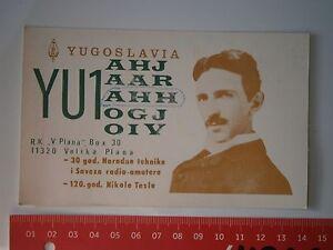NIKOLA TESLA YUGOSLAVIA RADIO AMATEUR YU1AHH DOCUMENT CARD AWARD NOTE,CONNECTION