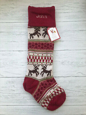 Nwt Pottery Barn Kids Reindeer Fair Isle Knit Stocking