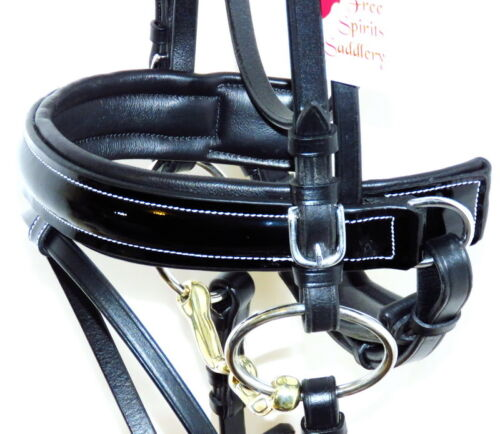 Details about  /FSS PATENT Leather BLACK Padded JET GLOSS Comfort WHITE STITCH Dressage Bridle