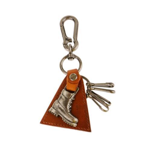 Punk Men PU Leather Vintage Metal Keychain Key Ring Key Fob Bag Pendant Gifts