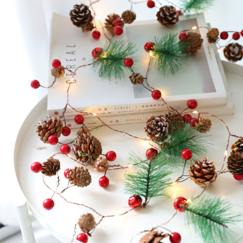 2M 20LEDs Christmas Xmas Pine Cones Branch Red Beads Stars Wood LED String Light