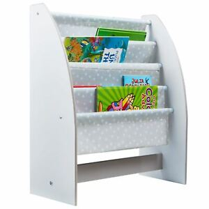 premium selection 20fe1 dcd7f Details about GREY & WHITE STARS SLING BOOKCASE FOR BOOKS MAGAZINES GIRLS  BOYS