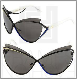 c4d3842903ff CHRISTIAN DIOR AUDACIEUSE 1 Black Gold White Blue Cat Eye Sunglasses ...
