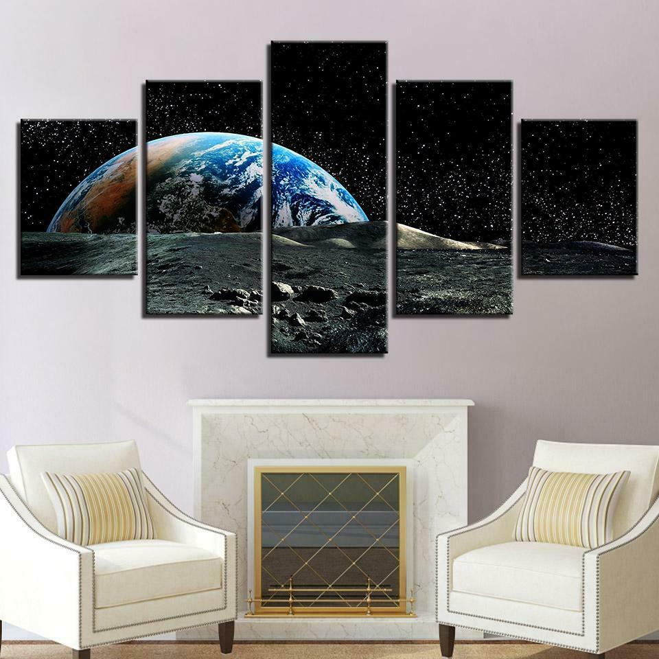 Earth View From The Moon 5 panel canvas Wall Art Home Decor Poster Print
