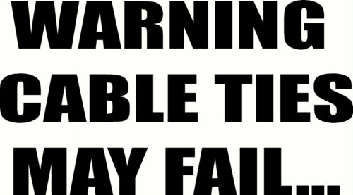 Decal Warning Cable Ties May Fail 4X4 STICKER