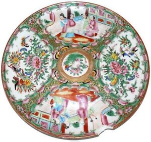 Rose-Medallion-Plate-Antique-1840-Chinese-Export-9-5-034-Plate