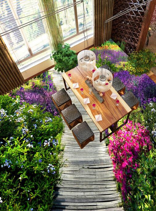 3D Flower Road Scenery 4 Floor WallPaper Murals Wall Print Decal AJ WALLPAPER CA