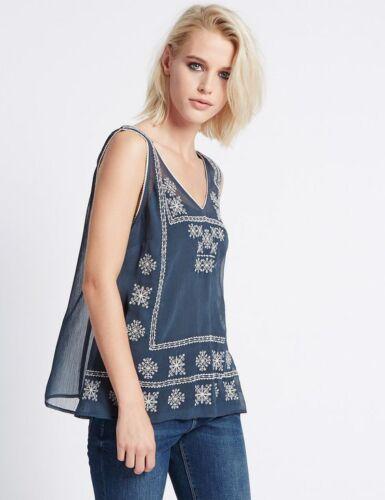 New M/&S Indigo Blue Cotton Rich Embroidered Sleeveless Vest Top UK 10 18