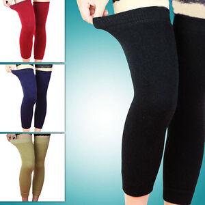Laine-Thermique-Genou-Jambes-Chaudes-Longues-Chaussettes-Elastique-Knee-JE