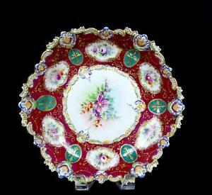 ASIAN-PORCELAIN-ANTIQUE-MAROON-amp-GREEN-FLORAL-SCALLOPED-RIM-10-034-BOWL-1750-1850