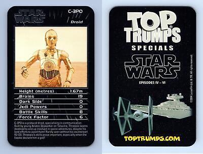C-3PO Star Wars Episodes IV-VI 2004 Top Trumps Specials Card