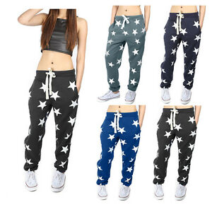 Womens-New-Star-Print-Ladies-Bottoms-Waistband-Tracksuit-Jogging-Joggers-Pants