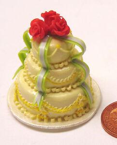 Trempé Échelle 1:12 Rouge Vert & Jaune 3 Niveaux Gâteau De Mariage Tumdee Maison De Poupées Accessoire G-afficher Le Titre D'origine