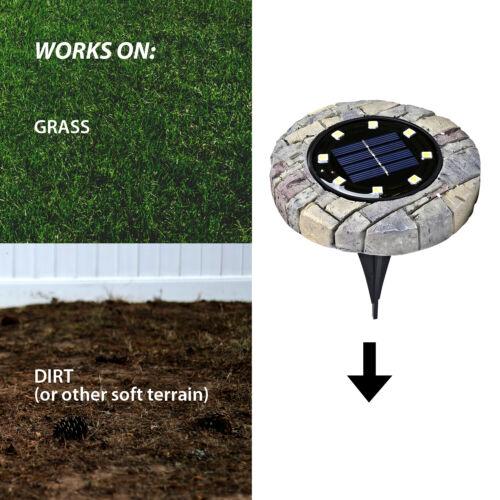 Garden Pathway Outdoor In-Ground Solar Ground Lights 8 LED 4 Pack