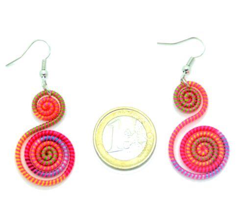 Boucles d/'oreilles Légère Ethnique Fil Coton Multicolor Spirale colorée été
