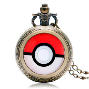 Retro-Pokemon-Go-Ball-Cosplay-Mens-Women-Pocket-Watch-Anime-Necklace-Chain-Gift