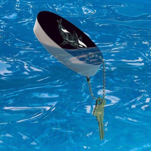 Killer Whale Orca with Waves Floating Foam Keychain Fishing Boat Buoy Key Float