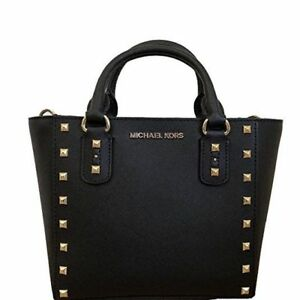 Michael Kors Sandrine Stud Small Crossbody Bag In Black Saffiano Leather