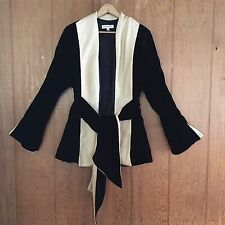 Ilana Wolf Silk Velvet Black Gold Wrap Jacket Bell Sleeve M