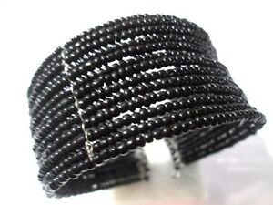 BLACK-SEED-BEAD-MULTIROW-GLASS-BEADED-BRACELET-CUFF-ATTACHED-STYLISH-VINTAGE