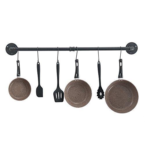 OROPY Set of 2 Wall Mount Pot Pan Bar Racks Black 50cm Space-Saving Industrial Kitchen Utensils Hanging Rail with 10 Hooks