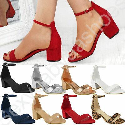 Womens Ladies Low Block Heel Black
