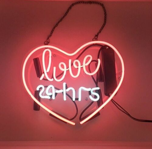 """11/""""x9/"""" Love 24 Hrs Pink Heart Handcrafted Poster Beer Bar Wall Neon Light Sign"""