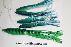 """Squid Daisy Chain Offshore Trolling Lure Tuna 6 in shrimp w 9/"""" zucchini stinger"""