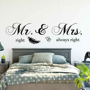 Details zu Wandtattoo Schlafzimmer Wandaufkleber Mr & Mrs right always  right Spruch