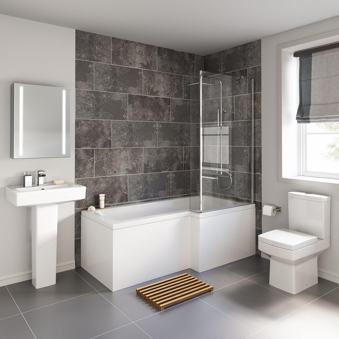 Cube L Shaped Shower Bath 1700mm Bathroom Suite WC Toilet