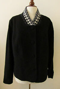 Womens-PENDLETON-Black-Wool-Diamond-Collar-Coat-Jacket-XL
