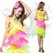 Women Fringe Latin Salsa Ballroom Dance Competition Dress Costume Dancer Clothes