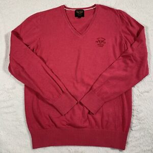 PME American Legend Homme rose grosses mailles Col V Casual Sweater Pull Taille L