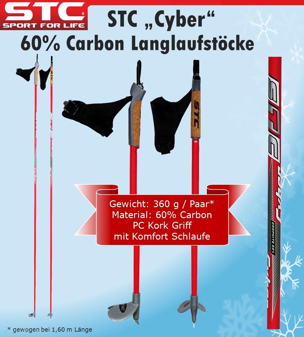 60% Carbon Langlauf Skistöcke Skating Stöcke NEU 150 cm - 170 cm