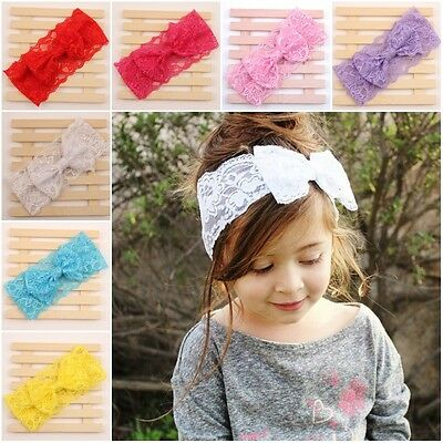 Kids Baby Girl Toddler Lace Bowknot Headband Hair Band Headwear Accessories 2016