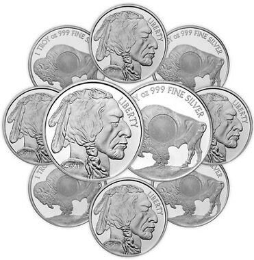 Lot of 10 1 oz Sunshine Buffalo Silver Round