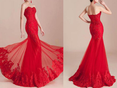 Mermaid Wedding Bridesmaid Long Dress Women Formal Party Evening Prom Ball Gown