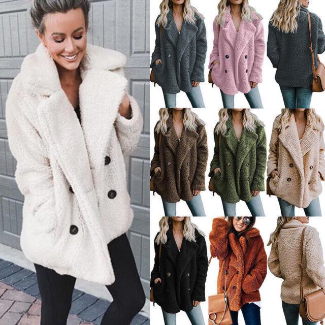 Women Winter Fluffy Fleece Cardigan Coat Casual Warm Overcoat Outwear Pockets