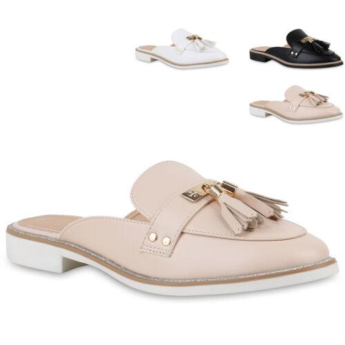 Damen Sandalen Pantoletten Leder-Optik Slippers Glitzer 820662 Trendy Neu