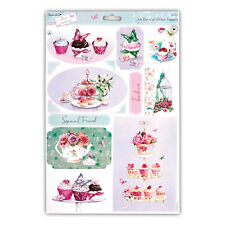 "PAPERMANIA LUCY CROMWELL GLITTER TOPPERS ""TEA"" GREAT FOR CARDS & CRAFTS"
