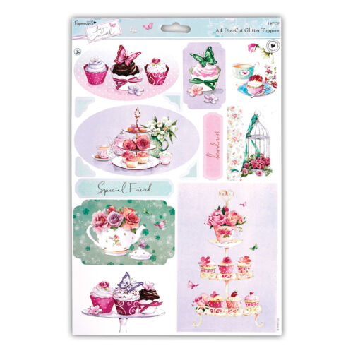 """PAPERMANIA LUCY CROMWELL GLITTER TOPPERS /""""TEA/"""" GREAT FOR CARDS /& CRAFTS"""
