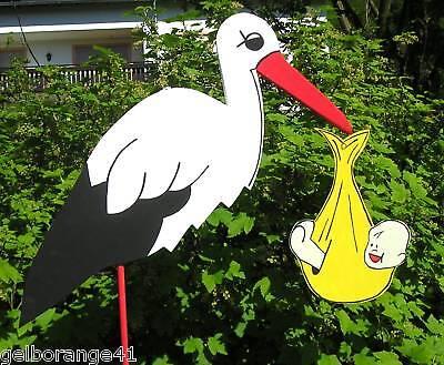 NEU*110 cm Klapperstorch Storch zur Geburt Windelfarbe wählbar /% Sonderpreis />