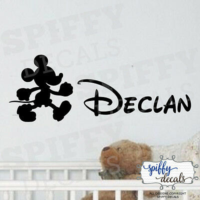 Mickey Mouse Personalized Name Custom Wall Decal Vinyl Sticker Walt Disney