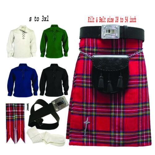 Men/'s Traditional Scottish Kilt Various Tartan outfit Belt Sporran 8 Pcs Set