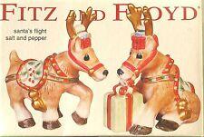 Fitz and Floyd 'Santa's Flight' Ceramic Reindeer Salt & Pepper Christmas Holiday