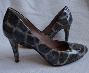 4439fdf2a9e1 Vince Camuto 8 Faliat Gray Patent Leather Animal Spot Print Heels ...