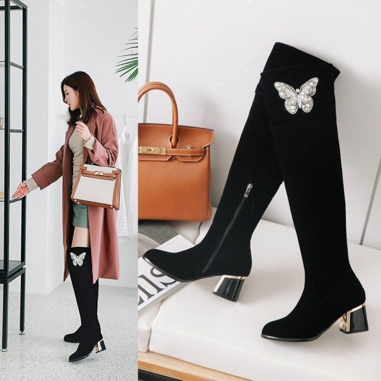 Para Para Para Mujer Moda Invierno Lentejuelas Mariposa Bloque Medio Tacones cálidas botas hasta la rodilla @BT  oferta de tienda